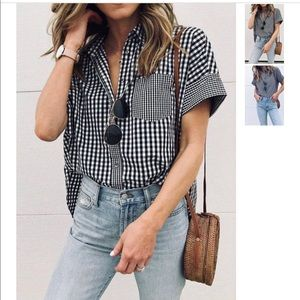 NWT Plaid gingham t shirt button down size small
